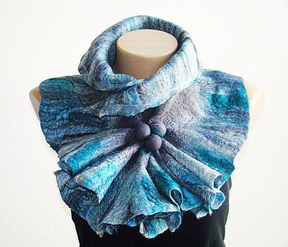 Felted Gray & Bay Breeze Wool Scarf Neckpiece by NataliyaMalik