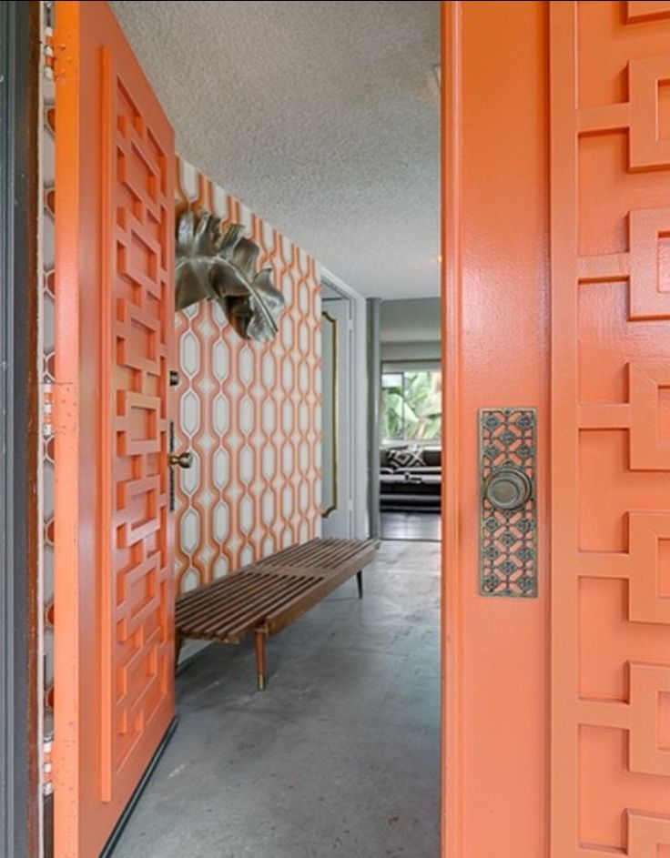 Orange - Geometric - Mid Century Modern Doors - Midcentury atomic ranch house Sliding Doors. Vtg 1950s/1960s  Front Entry Door: These distinctive, modern entryway designs feature signature, iconic details with a vintage flair to nourish the nostalgic. Front Doors, Garage Doors, Concrete Walls, Patios.Mid-century & Modern Doors & Entryways: Mid century modern exterior doors. Popular door designs, door knobs and door colors from the 1950's, 1960's—and inspiration for today. #Eichler