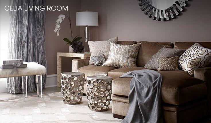 Living room champagne grey taupe gold silver for Brown taupe living room