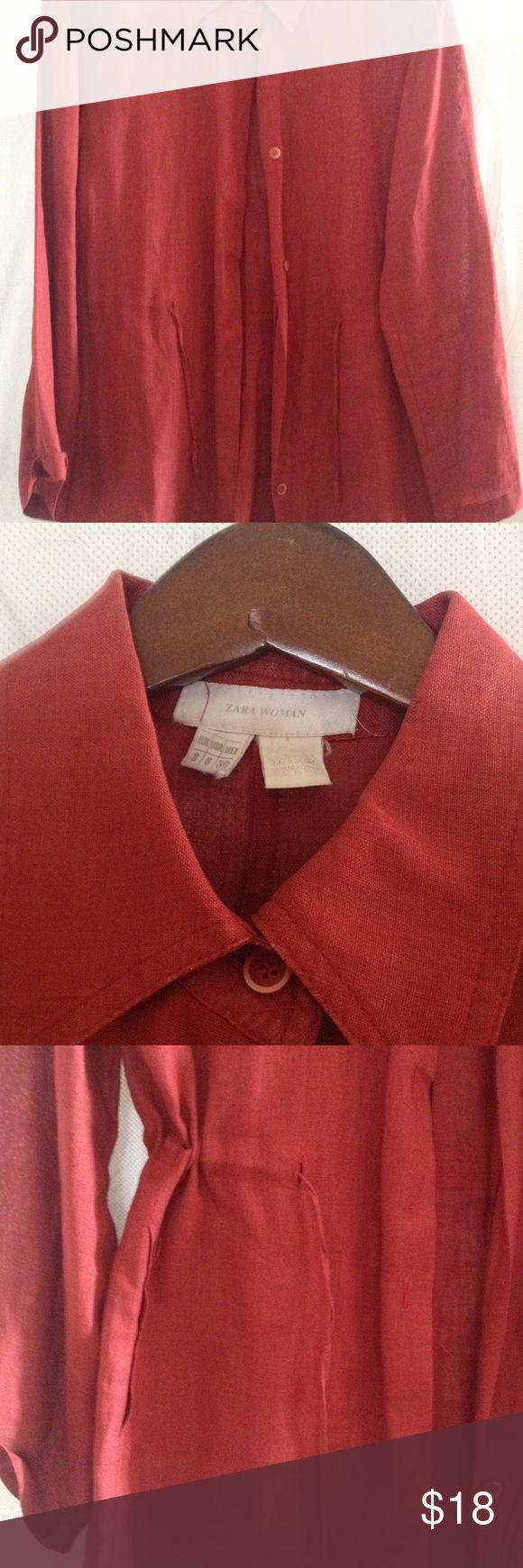 Zara woman linen red jacket with drawstring waist Zara woman linen red jacket with drawstring waist size small Zara Jackets & Coats Blazers