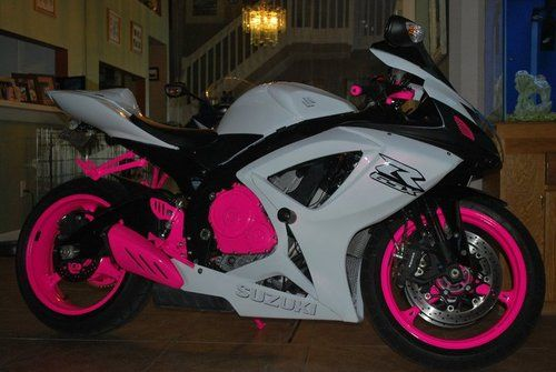 Suzuki GSXR Hot Pink, White  Sports Bike.. might be in love.