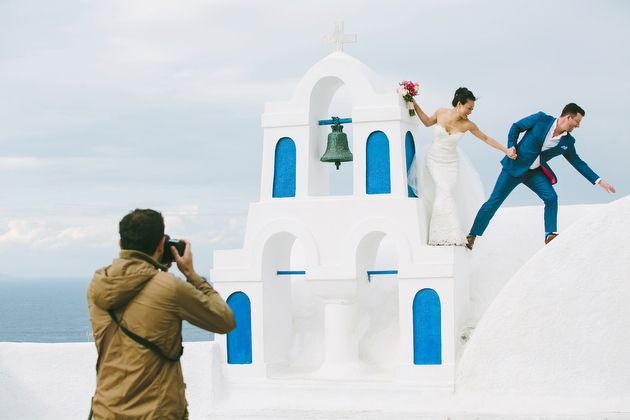 Following Photographer and Couple during a Post Ceremony Photo Session - by Stella And Moscha - Photography by Thanos Asfis & Yiannis Alefantou