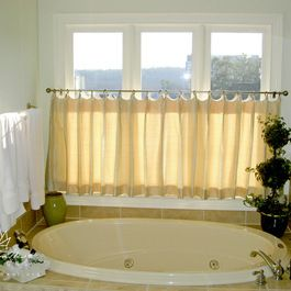 Cafe Curtain On Rings With Scooped Header And Pleats   Atlanta   William  West Designs