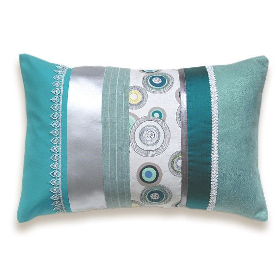 Turquoise Teal Duck Egg Blue Silver White by DelindaBoutique, $38.00. Go with cable pillows?