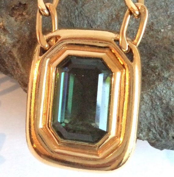Glamorous 80s EMERALD GOLD Necklace Art Deco XL by MushkaVintage3