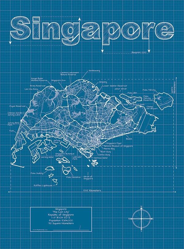 Singapore Artistic Blueprint Map. $30.00, via Etsy.