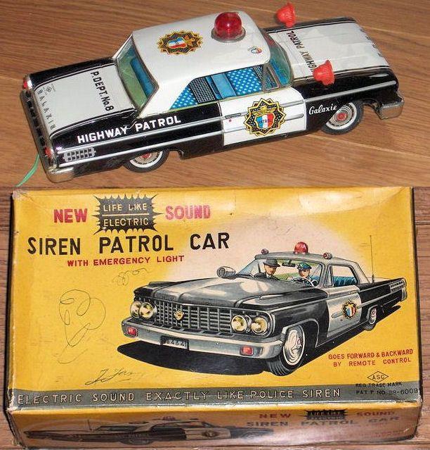 Online veilinghuis Catawiki: ASC, Japan - Lengte 25 cm - Ford Galaxie Siren Patrol Car met batterijmotor, jaren 60