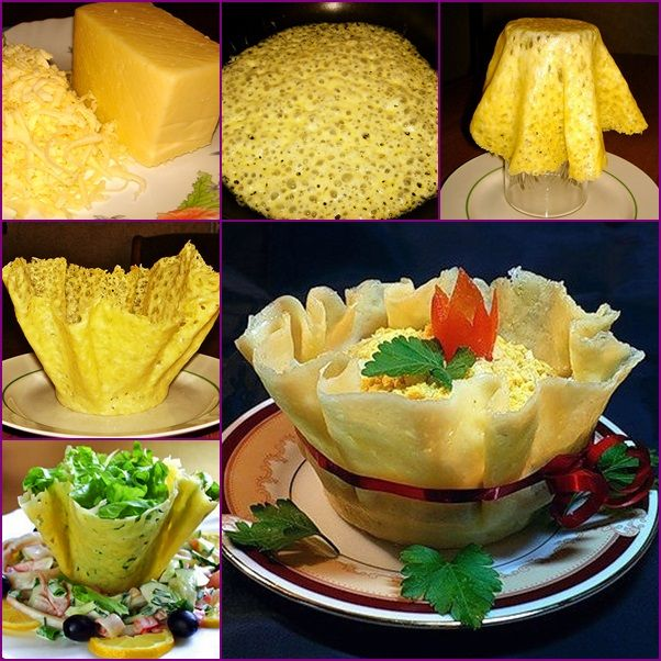 How to DIY Edible Cheese Salad Bowls tutorial and instruction. Follow us: www.facebook.com/fabartdiy