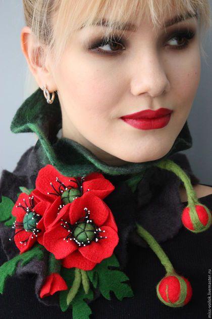 """Купить Шарф из шерсти """"Мак"""" (валяние) - ярко-красный, цветочный, подарок, ручная работа, Валяние"""
