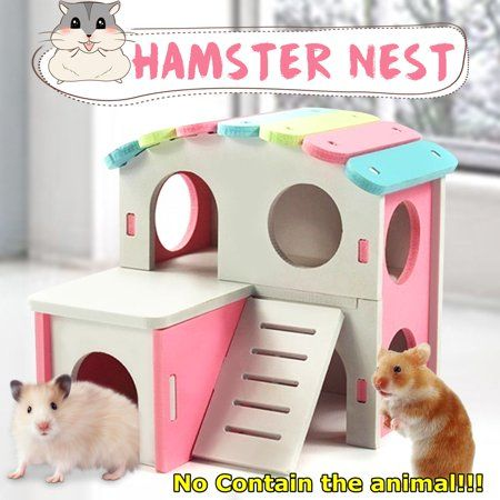 Cute Wooden Pet Hamster Sleeping House Nest with Colorful