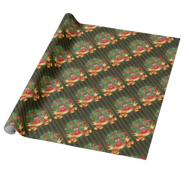 Sally Foster Gift Wrap Part - 44: Reindeer In Christmas Wreath Illustration Wrapping Paper #giftwrap  #christmas #wrappingpaper