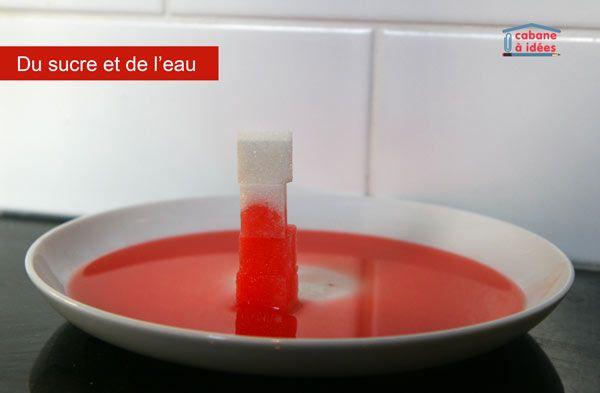 Une expérience avec du sucre et de l'eau - http://www.cabaneaidees.com/2015/11/experience-sucre-et-eau/