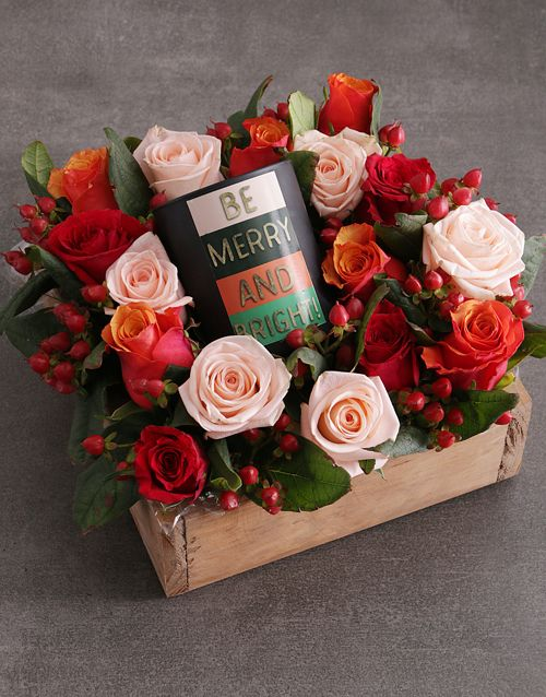 Christmas Mixed Rose Candle Crate Festive Gift Ideas For Her