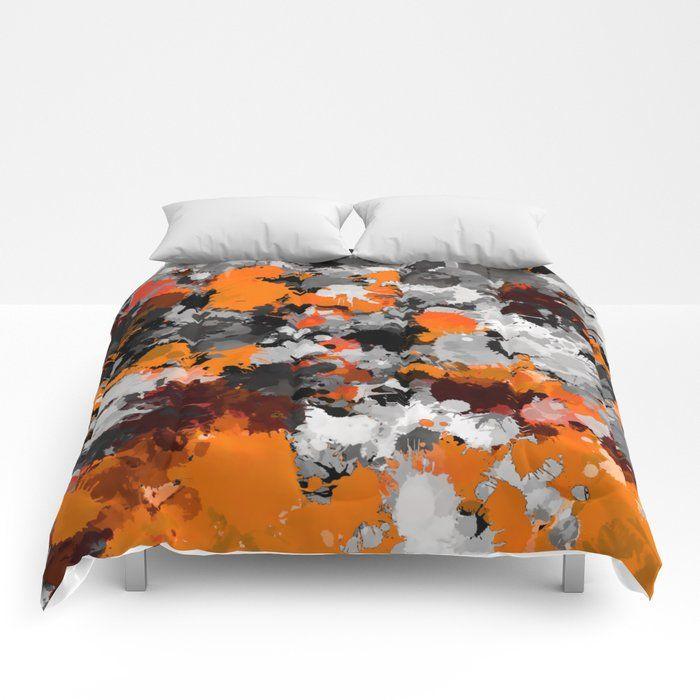 Orange And Grey Paint Splatter Comforter Grey Paint Comforters Home Bedroom