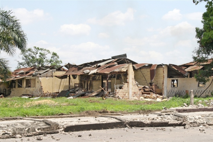 Extensive damage was caused to residential areas when munitions in an army depot in Brazzaville blew up on 4 March 2012