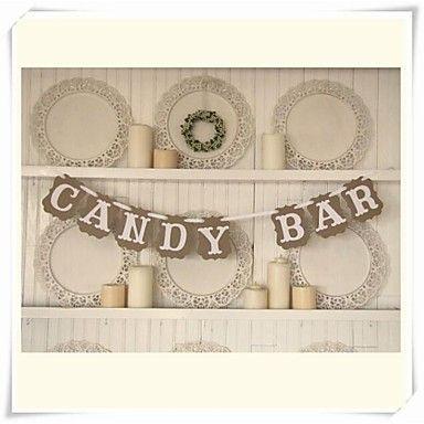 人気のある素朴な「キャンディーバー」クラフト紙手作りの結婚式のバナーホオジロデザートテーブルの装飾 - JPY ¥ 1,043