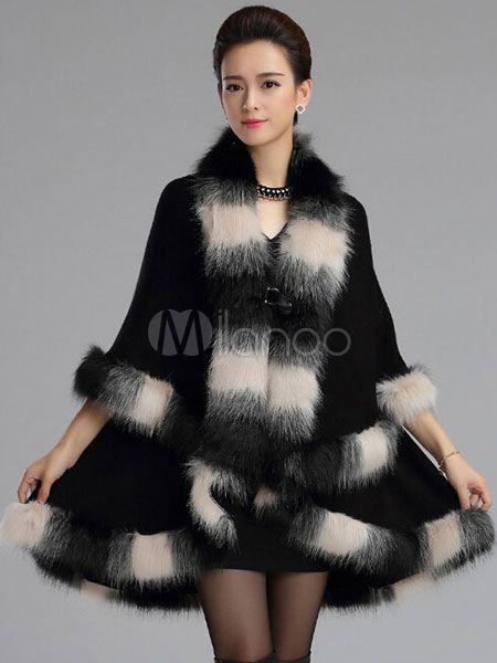 Pele de raposa do falso de luxo de grandes dimensões com decote em v Poncho casaco para mulher - Milanoo.com