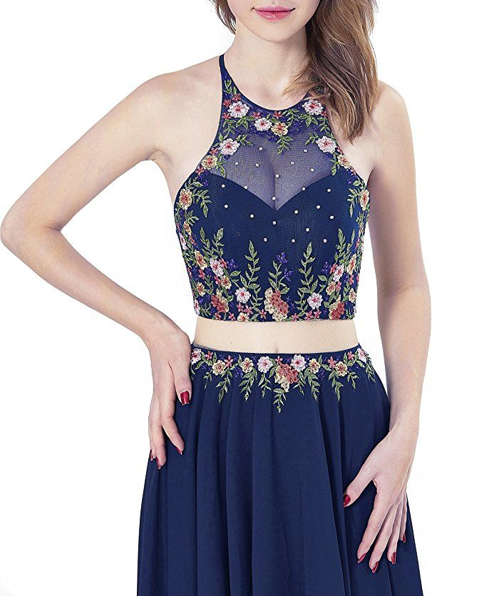 ea3dfefc533 LOVIERA Women s Homecoming Dresses Prom Dress Evening Gowns Bridesmaid  Dresses Halter Neck Embroidery Open Back 2018 New Arrival at Amazon Women s  Clothing ...