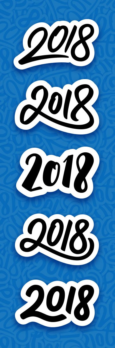 Lettering for 2018 New Year. Made by Yurlick.  #happy #new #year #2018 #newyear #happynewyear #background #greeting #card #greetingcard #greetings #vector #illustration #lettering #calligraphy #typography #newyear2018