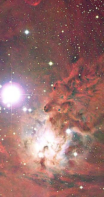 The Fox Fur Nebula ~ The region just below and to the right of S Mon, the bright star in the above picture, is nicknamed the Fox Fur Nebula for its color and texture. The blue glow directly surrounding S Mon results from reflection, where neighboring dust reflects light from the bright star. The more diffuse red glow results from emission, where starlight ionizes hydrogen gas. Pink areas are lit by a combination of the two processes. S Mon is part of a young open cluster of stars named NGC…
