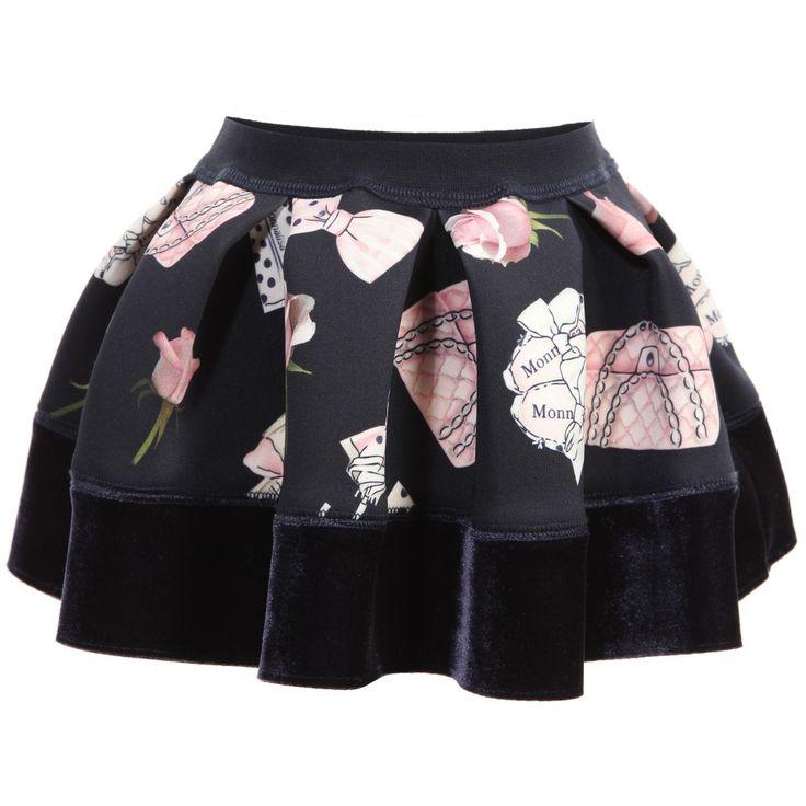 Baby Girls Navy Blue Printed Neoprene Skirt, Monnalisa, Girl