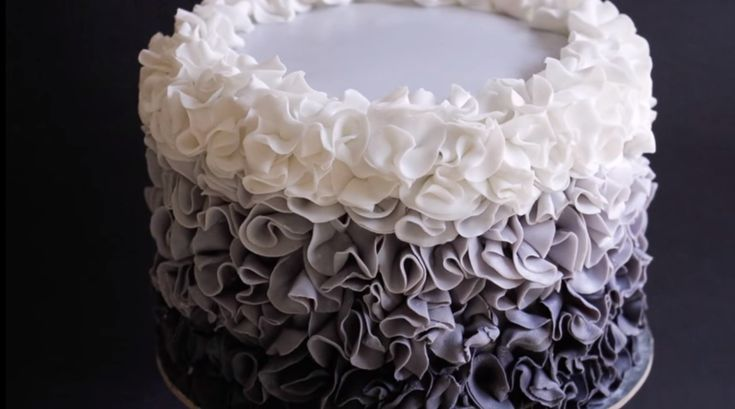 Fondant Ruffle Cake Ombre Style Tutorial - http://cakesmania.net/fondant-ruffle-cake-ombre-style-tutorial/
