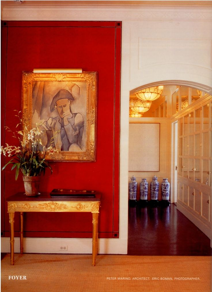 Bold red wall! Peter Marino for the Agnelli Family in NYC #luxury #interiordesign #residential
