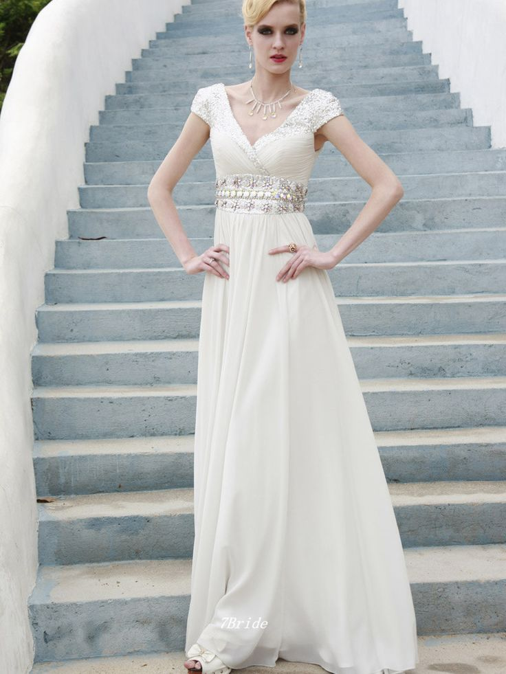 Free Shipping Modest Casual Tulle A-line V-neck Cap Sleeves Beaded Floor Length Evening Dress