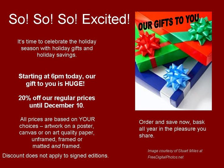YourLocalArt.com Like to save?  OUR GIFT TO YOU - 20% discount until December 10. Prints available on canvas or paper with or without frames - visit the website, browse, order, enjoy!  HAPPY HOLIDAYS!