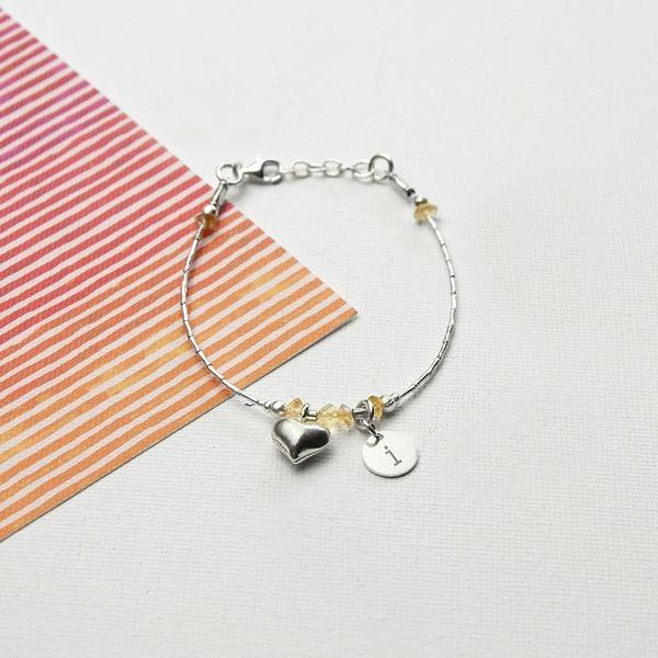 Girl's Sterling Silver Personalised Bracelet Multicoloured (Citron Shown)