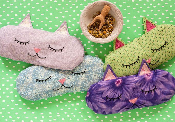 DIY: 'Cat Nap' Eye Pillows + Free Sewing Pattern #craft #herbal