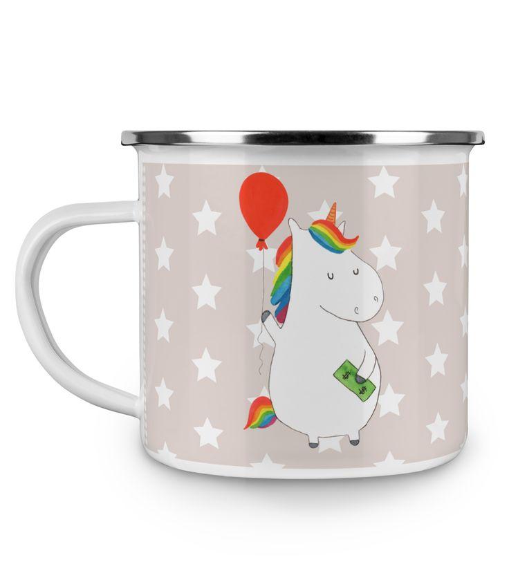 Emaille Tasse Einhorn Luftballon aus Metall im Emaille Look  Weiß - Das Original von Mr. & Mrs. Panda.  Diese wunderschöne Emaille Tasse von Mr. & Mrs. Panda ist wirklich etwas ganz besonders.  Diese Metalltasse mit abgesetztem Edelstahl Rand in Emaille Optik ist der perfekte, bruchsichere Begleiter für dein nächstes Abenteuer.    Über unser Motiv Einhorn Luftballon  Ein Einhorn Edition ist eine ganz besonders liebevolle und einzigartige Kollektion von Mr. & Mrs. Panda. Wie immer bei unseren…