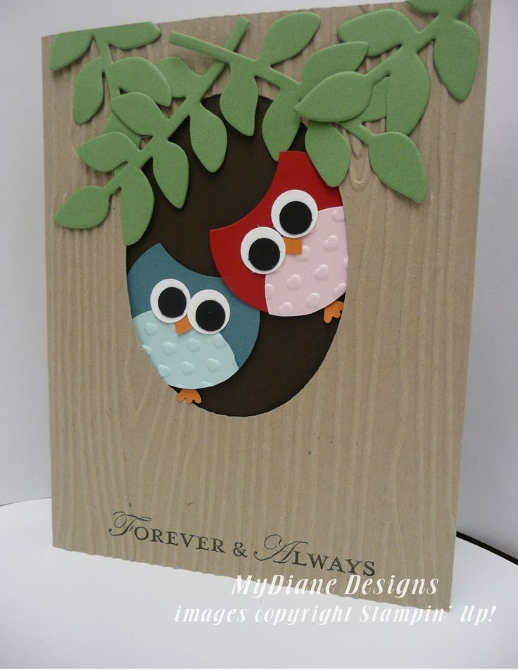 MyDiane Designs, Stampin' Up!, Punch Art, Owls, handmade cards