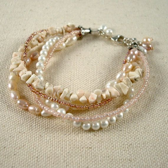 Pearls and shell multi strand bracelet.