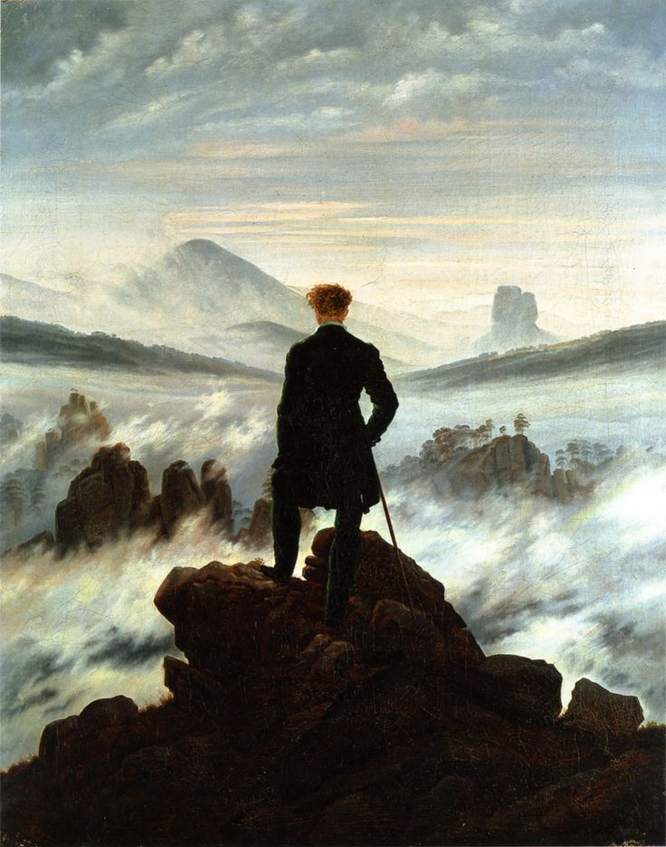 The Wanderer Above the Sea of Fog, (Der Wanderer über dem Nebelmeer um) 1818 ~ by Caspar David Friedrich