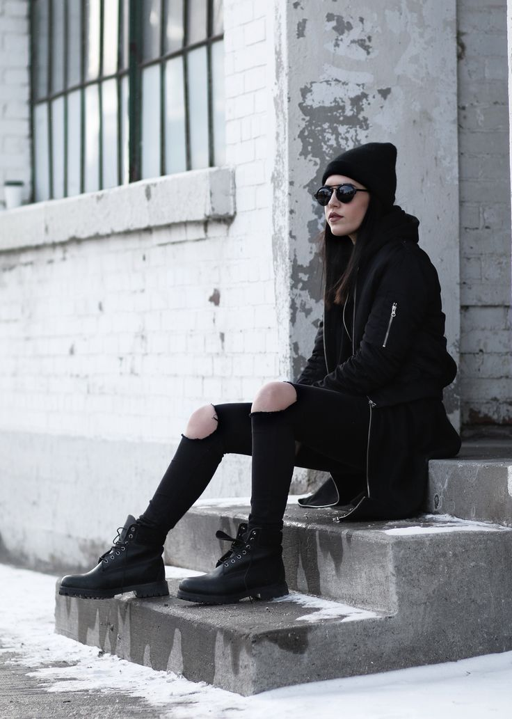 timberland,boots,black,bomber,streetstyle,crop,3