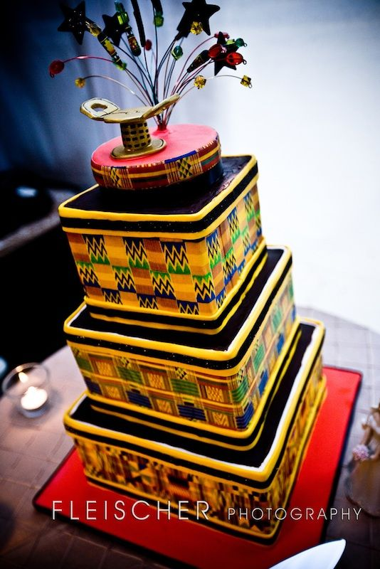 Ghanaian inspired Wedding Cake. Ghana. Kente. Ashanti. Stool.-- #Ghanaian African Wedding #Africa