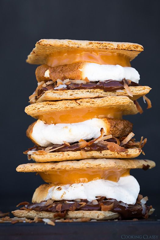 Samoa S'mores - Made with caramel, toasted coconut and chocolate + a long list of s'mores ideas! The possibilities are endless!