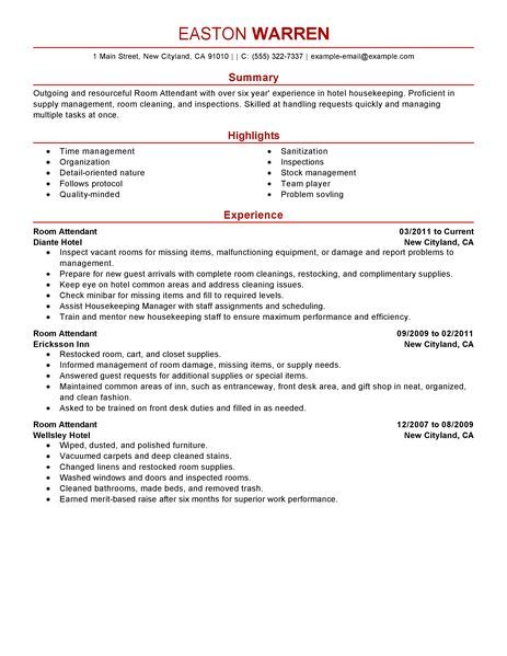 7 best Perfect Resume Examples images on Pinterest Resume - hotel attendant sample resume