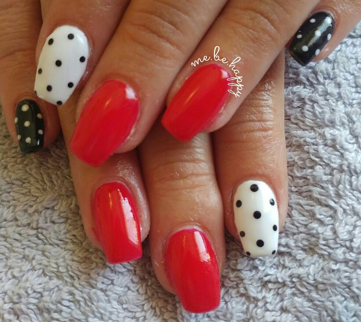 Valentines day inpired nails. So cute! Red tomato. Black beauty. French white logik gel