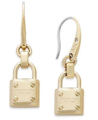 Michael Kors Gold-Tone Padlock Drop Earrings