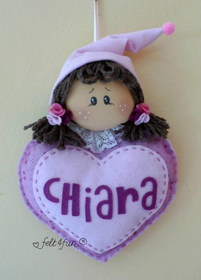 Fiocchi nascita : Fiocco nascita feltro fatina con cuore