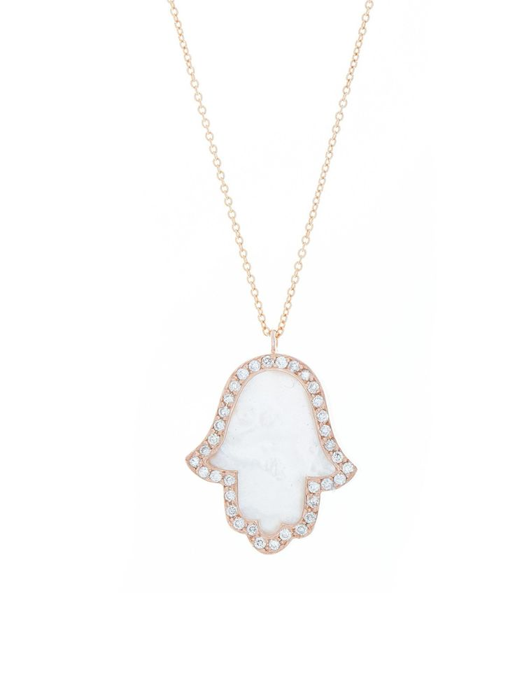 London Collection 18k Mother of Pearl Hamsa pendant Necklace