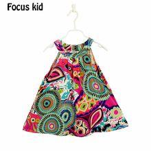Caliente venta! 2015 New Girl moda de verano vestido impreso niñas vestido de bebé niños del vestido del algodón de la ropa de las muchachas 2-7Y Q02(China (Mainland))