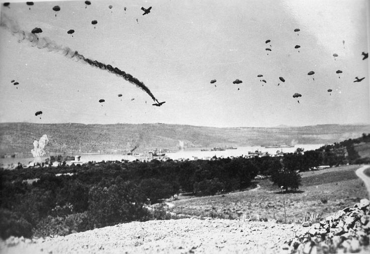 More German paratroops landing on Crete from Junkers 52 transports, 20 May 1941.