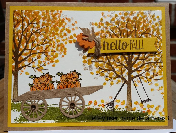 Handmade Fall card, created using Sheltering Tree stamp set from Stampin' Up! Handmade by Quinn eBay user name decamerax3