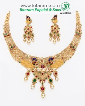 22K Gold 'Peacock' Necklace & Drop Earrings Set with Uncut Diamonds & South Sea Pearls - DS325 - Indian Jewelry from Totaram Jewelers