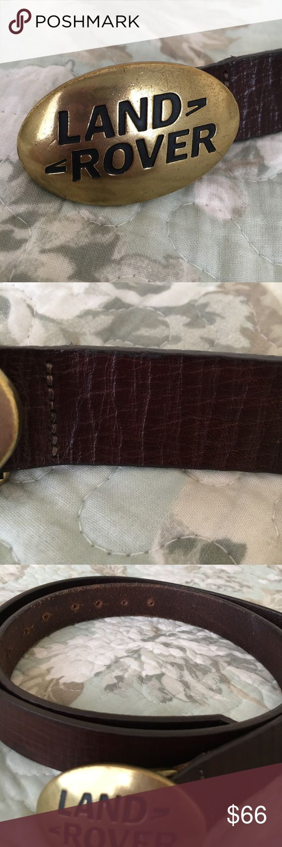 "Land Rover Belt Vintage Land Rover belt. Fits waist size 33"" to 41"". Brown leather belt with brass buckle. Some scratches on buckle and leather belt shows wear. Purchased at a LR Dealership. Lots of life left. Land Rover Accessories Belts"