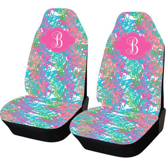 Colorful Coral Car Seat Covers Set Of Two Front by ChicMonogram