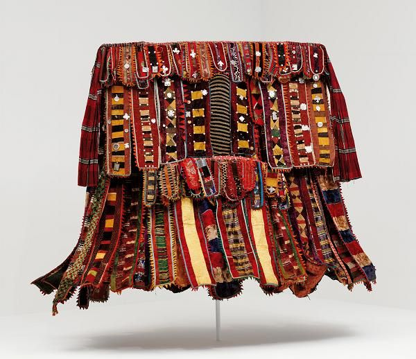 Africa | Egungun costume from the Yoruba peopleof Nigeria | Cotton, silk, and wool fabric, metal, leather, mirrors, cotton, and wood. | ca. 1920 - 1950 |  Dallas Museum of Art